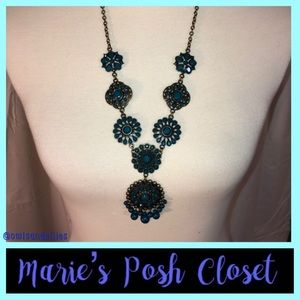 Deep Teal Stones in Antiqued Silver Tone Necklace